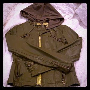 Olive green moto jacket with hoodie